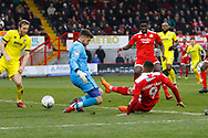 Crawley Town forward Karlan Ahearne-Grant scores a goal (score 1-4) during the EFL Sky Bet League 2 match between Crawley Town and Cheltenham Town at the Checkatrade.com Stadium, Crawley, England on 24 March 2018. Picture by Andy Walter.