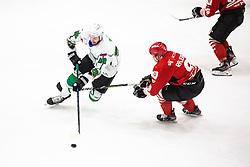 ZAJC Miha vs RAJSAR Patrik during summer Hockey League match between HK SZ Olimpija and HDD SIJ Jesenice, on September 12, 2020 in Ice Arena Bled, Bled, Slovenia. Photo by Peter Podobnik / Sportida
