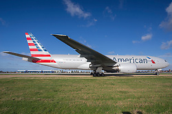 © under license to London News Pictures.<br />  FILE PICTURE: American Airlines Boeing 777 at London Heathrow.. Photo credit : IAN SCHOFIELD/LNP