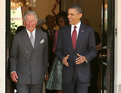 File photo dated 24/05/11 of the then President of the United States Barack Obama speaking to the Prince of Wales, as they leave Winfield House, the official residence of the US Ambassador, in Regent's Park, central London on the first day of his state visit to the UK. Donald Trump???s state visit to the UK is only the third by a US president.