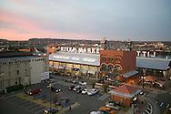 River Market building at dusk in the River Market district of downtown Little Rock Arkansas