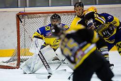 Luka Kar of HK Slavija and Frank Dominik of EK Zell am See during Inter National League ice hockey match between HK Slavija Ljubljana and EK Zell am See, on November 3, 2012 in Ledena Dvorana Zalog, Ljubljana, Slovenia. (Photo by Matic Klansek Velej / Sportida.com)