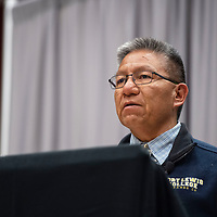 Myron Lizer, vice presidential candidate for Jonathan Nez  participates in a debate with Buu Nygren at the Navajo Nation Presidential Candidates Debate Tuesday, Oct. 16, 2018 at Navajo Technical University in Crownpoint.