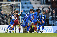 Gillingham FC midfielder Regan Charles-Cook (11) scores a goal (1-0) and celebrates with team mates during the EFL Sky Bet League 1 match between Gillingham and Bradford City at the MEMS Priestfield Stadium, Gillingham, England on 27 October 2018.