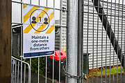 Covid-19 warning and safety signage and locked gates at Mt Smart Stadium, Auckland on the 27th May 2020 during level 2 lockdown.<br /> Copyright photo: Andrew Cornaga / www.photosport.nz