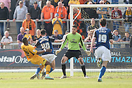 Aaron O'Connor of Newport tangles with Ian Henderson of Rochdale. O'Connor is sent off and Rochdale are awarded a penalty. Skybet football league two match, Newport county v Rochdale at Rodney Parade in Newport, South Wales on Saturday 3rd May 2014.<br /> pic by Mark Hawkins, Andrew Orchard sports photography.