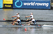 Poznan, POLAND, 23rd June 2019, Sunday,  USA1 W2X (b) MADDEN Cicely and (s) STONE Genevra,  competing in  The A Final winning Silver medalist,FISA World Rowing Cup II, Malta Lake Course, © Peter SPURRIER/Intersport Images, <br /> <br /> 11:59:19