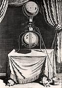 Otto von Guericke's air pump. From 'Experimental Nova' by Otto von Guericke (Amsterdam, 1672).  Engraving.
