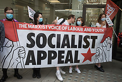Supporters of Socialist Appeal attend a protest lobby outside the Labour Party's headquarters by left-wing groups on 20th July 2021 in London, United Kingdom. The lobby was organised to coincide with a Labour Party National Executive Committee meeting during which it was asked to proscribe four organisations, Resist, Labour Against the Witchhunt, Labour In Exile and Socialist Appeal, members of which could then be automatically expelled from the Labour Party.