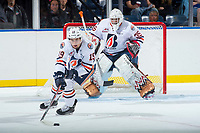 KELOWNA, CANADA - SEPTEMBER 5: Erik Miller #19 of the Kamloops Blazers skates with the puck against the Kelowna Rockets on September 5, 2017 at Prospera Place in Kelowna, British Columbia, Canada.  (Photo by Marissa Baecker/Shoot the Breeze)  *** Local Caption ***