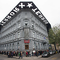 People queue in front of Terror House Museum for a free exhibition during Hungary's national holiday commemorating the revolution of 1956 in Budapest, Hungary on October 23, 2014. ATTILA VOLGYI