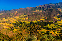 Farmland surrounding Lalibela, Ethiopia. It is located  in a remote and mountainous area of northern Ethiopia.