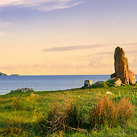 Standing Stones Panorama (Menhir) at Ballinskelligs overlooking Ballinskelligs Bay with View on Waterville, County Kerry, Ireland / bs032