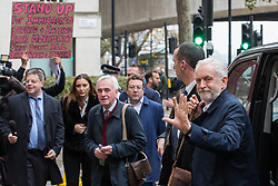 London, UK. 16 November, 2019. Jeremy Corbyn, Leader of the Labour Party, and Shadow Chancellor John McDonnell, arrive for the Clause V meeting. The Clause V meeting, chaired by the party leader and attended by members of the National Executive Committee (NEC), relevant Shadow Cabinet members and members of the National Policy Forum, will finalise the party's general election manifesto. The meeting is named after Clause V of the Labour Party rulebook.