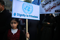 January 29, 2018 - Gaza City, The Gaza Strip, Palestine - Employees of United Nations Relief and Works Agency (UNRWA) take part in a protest against a U.S. decision to cut aid, in Gaza City. (Credit Image: © Hassan Jedi/Quds Net News via ZUMA Wire)