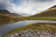 Looking west from the head of Loch Cluanie along Glen Shiel, with the meandering Cluanie Rvier in the mid and foreground.