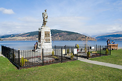 """Inveraray war memorial on Inveraray green overlooking Loch Fyne. Built in the 1920's it is topped by a bronze statue of a Highland Infantryman, sculpted by Kellock Brown. A large bronze plaque on the front of the memorial states """"In Memory Of Those Young Loved Lamented Here Who Died In Their Country's Service 1914-1918""""  and the left and right sides of the memorial carry bronze plaques with the names of the men killed during the First World War. The men who died in the Second World War are remembered on bronze plate embedded in stone which was added below the main inscription on the front. <br /> <br /> 06 April  2015<br /> Image © Paul David Drabble <br /> www.pauldaviddrabble.co.uk<br /> www.facebook.com/pauldaviddrabblephotography"""