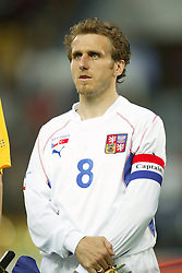 TEPLICE, CZECH REPUBLIC - Wednesday, April 30, 2003: Czech Republic's captain Karel Poborsky pictured before a friendly match against Turkey at the Teplice Stadion Na Stinadlech. (Pic by David Rawcliffe/Propaganda)
