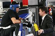 Boxen: 1. Bundesliga, Hamburg Giants, Hamburg, 13.02.2017<br /> Pressetraining zur Kooperation mit dem Hamburger Profi-Boxstall EC Boxing:<br /> Ammar Abbas Abduljabar (Giants) und Toni Kraft beim Sparring<br /> © Torsten Helmke