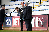 Paul Cook, the Portsmouth manager in discussion with Iain McInnes, the Portsmouth chairman after the final whistle. Skybet football league two match, Cambridge Utd v Portsmouth at the Abbey Stadium  in Cambridge on Saturday 10th October 2015.<br /> pic by John Patrick Fletcher, Andrew Orchard sports photography.