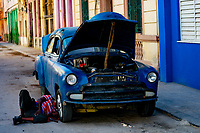 Classic Cars, Street Scene, Havana, Cuba 2020 from Santiago to Havana, and in between.  Santiago, Baracoa, Guantanamo, Holguin, Las Tunas, Camaguey, Santi Spiritus, Trinidad, Santa Clara, Cienfuegos, Matanzas, Havana