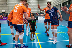 The first serve for Luca Ratterman and celebrate with Dutch team during the Olaf Ratterman Memorial match between Netherlands vs. Eredivisie All Star team on May 03, 2021 in Barneveld.