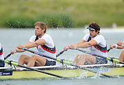 Munich, GERMANY.  GBR M4X. right. Charles COUSINS and  Bill LUCAS   at the start in their morning heat. 2010 FISA World Cup. Olympic Rowing Course, Munich.  Friday  18/06/2010   [Mandatory Credit Peter Spurrier/ Intersport Images]