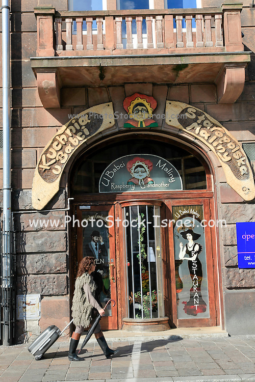 Historic centre Cracow, Poland Entrance to the Raspberry Grandmother restaurant