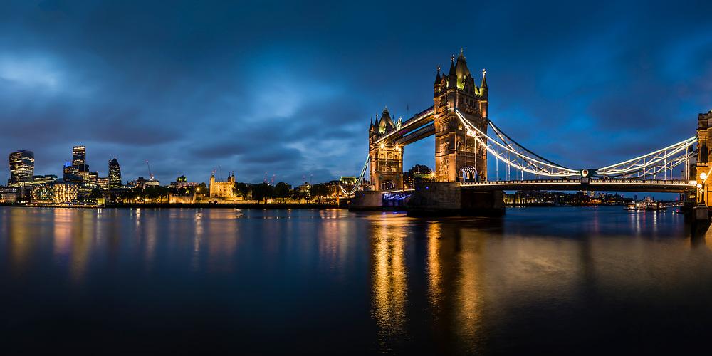 Long exposure image of the Tower Bridge at night