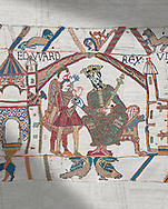 Bayeux Tapestry scene 1 : Edward The confessor send Harold to inform William he will succeed to English Throne. .<br /> <br /> If you prefer you can also buy from our ALAMY PHOTO LIBRARY  Collection visit : https://www.alamy.com/portfolio/paul-williams-funkystock/bayeux-tapestry-medieval-art.html  if you know the scene number you want enter BXY followed bt the scene no into the SEARCH WITHIN GALLERY box  i.e BYX 22 for scene 22)<br /> <br />  Visit our MEDIEVAL ART PHOTO COLLECTIONS for more   photos  to download or buy as prints https://funkystock.photoshelter.com/gallery-collection/Medieval-Middle-Ages-Art-Artefacts-Antiquities-Pictures-Images-of/C0000YpKXiAHnG2k