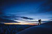 Morning twlight in the central Wasatch range with Mali Noyes, Utah.
