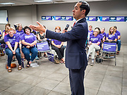 27 JULY 2019 - DES MOINES, IOWA: JULIÁN CASTRO speaks during a NARAL town hall in Des Moines Saturday. The town hall was about preserving women's health care choices, but Castro also used as an opportunity to talk about the differences between him and President Donald Trump. Castro, the Secretary of Housing and Urban Development during the Obama administration, is running to be the Democratic candidate for President in 2020. Iowa traditionally hosts the first event of the Presidential selection season. The Iowa Caucuses will be on Feb. 3, 2020.           PHOTO BY JACK KURTZ