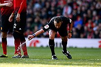 Football - 2018 / 2019 Premier League - Manchester United vs. Watford<br /> <br /> Referee Stuart Attwell marks a line for the United defensive wall, at Old Trafford.<br /> <br /> COLORSPORT/ALAN MARTIN