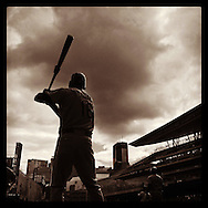 An Instagram of Oakland Athletics Josh Reddick in the on-deck circle during a game against the Minnesota Twins at Target Field in Minneapolis, Minnesota.