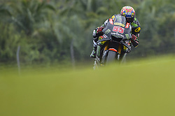 November 3, 2018 - Sepang, Malaysia - Monster Yamaha Tech 3 MotoGP rider Hafizh Syahrin of Malaysia powers the bike during free practice 3 session of Malaysian Motorcycle Grand Prix at Sepang International Circuit in Sepang, November 3, 2018. (Credit Image: © Zahim Mohd/NurPhoto via ZUMA Press)