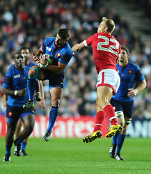 *Caption correction - Wesley Fofana of France <br />  beats Harry Jones of Canada to the high ball  - Mandatory byline: Joe Meredith/JMP - 07966386802 - 01/10/2015 - Rugby Union, World Cup - Stadium:MK -Milton Keynes,England - France v Canada - Rugby World Cup 2015