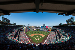 June 3, 2018 - Anaheim, CA, U.S. - ANAHEIM, CA - JUNE 03: General view of the interior Angel Stadium from an elevated position behind home plate during the MLB regular season game against the Texas Rangers and the Los Angeles Angels of Anaheim on June 03, 2018 at Angel Stadium of Anaheim in Anaheim, CA. (Photo by Ric Tapia/Icon Sportswire) (Credit Image: © Ric Tapia/Icon SMI via ZUMA Press)