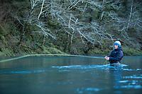 Fly fishing on the Kilchis River, near Tillamook, Oregon.