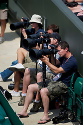LONDON, ENGLAND - Wednesday, June 23, 2010: Photographers during the Ladies' Singles 2nd Round on day three of the Wimbledon Lawn Tennis Championships at the All England Lawn Tennis and Croquet Club. (Pic by David Rawcliffe/Propaganda)