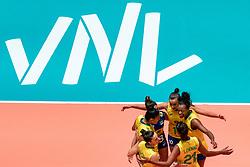 29-05-2019 NED: Volleyball Nations League Poland - Brazil, Apeldoorn<br /> Gabriela Braga GuimaraesC #10 of Brazil, Leia Henrique Da Silva Nicolosi #19 of Brazil, Tainara Lemes Santos #11 of Brazil, Mara Ferreira Leao #1 of Brazil