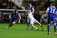 Swansea city's Jonjo Shelvey © in action.Barclays Premier league, Swansea city v Everton at the Liberty Stadium in Swansea,  South Wales on Sunday 22nd Dec 2013. pic by Andrew Orchard, Andrew Orchard sports photography.