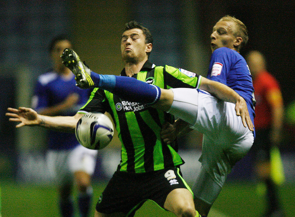 Leicester City's Ritchie De Laet (R) and Brighton and Hove Albion's Ashley Barnes in action..Football - npower Football League Championship - Leicester City v Brighton and Hove Albion - Tuesday 23rd October 2012 - King Power Stadium - Leicester..