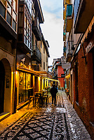 Restaurants along Santa Maria la Blanca, Granada, Granada Province, Andalusia, Spain.