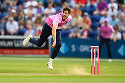 Steve Finn of Middlesex in action<br /> <br /> <br /> Photographer Craig Thomas/Replay Images<br /> <br /> Vitality Blast T20 - Round 4 - Glamorgan v Middlesex - Friday 26th July 2019 - Sophia Gardens - Cardiff<br /> <br /> World Copyright © Replay Images . All rights reserved. info@replayimages.co.uk - http://replayimages.co.uk
