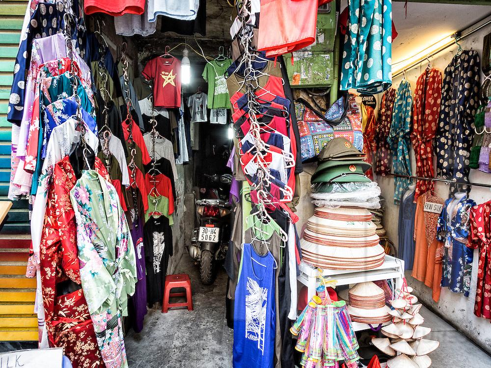 Small shop filled with silk garments along Hang Gai 'silk street' in Hanoi's Old Quarter, Hanoi, Vietnam, Southeast Asia