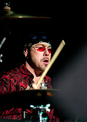 Quireboys drummer Jason Bonham (who is the son of Legendary Led Zeppelin Drummer John Bonham and has replaced outgoing Martin Henderson who quit the band in October 2002)at the Monsters of Rock Festival. Last night of an eleven date tour at the Hallam FM Arena, Sheffield Tuesday 26th November 2002<br />