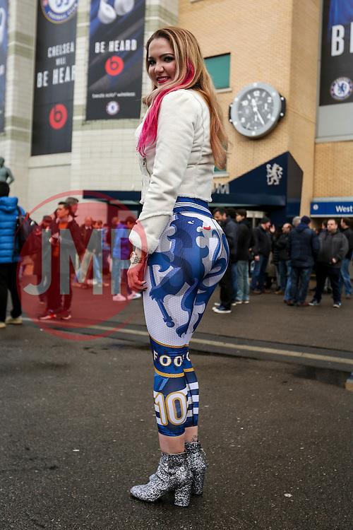 Chelsea fan Emily Rogawski sports her Chelsea leggings outside Stamford Bridge - Mandatory by-line: Jason Brown/JMP - 04/01/2017 - FOOTBALL - Stamford Bridge - London, England - Chelsea v Arsenal - Premier League