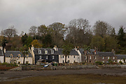The village of Plockton on the 4th November 2018 in western Scotland in the United Kingdom. Plockton is a village in the Highlands of Scotland in Lochalsh, Wester Ross with a population of 378. Plockton is a settlement on the shores of Loch Carron.