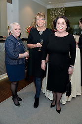 Left to right, DIANNE THOMPSON, PRUE LEITH and CHEY GARLAND at a dinner in honour of Veuve Clicquot Business Woman Award UK Previous Winners held at Moet Hennessy, 18 Grosvenor Gardens, London on 8th April 2014.