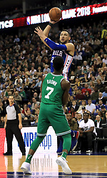 Philadelphia 76ers' Ben Simmons shoots during the NBA London Game 2018 at the O2 Arena, London.